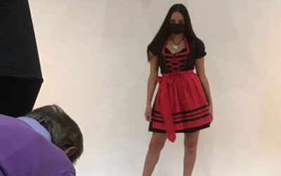 Covid-safe photo shoot of dirndls in winter 2020